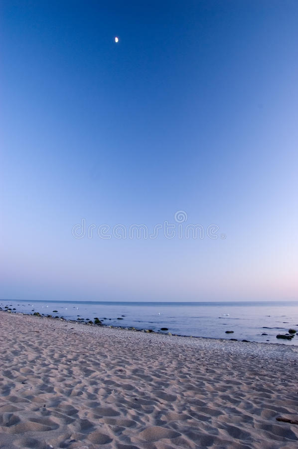 Baltic Seaside After Sunset With Moon Royalty Free Stock Photo