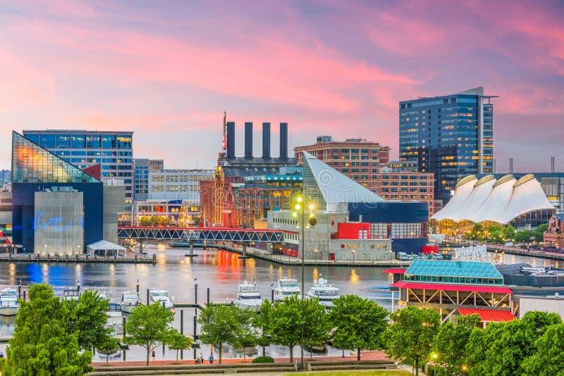 Baltimora, Maryland, orizzonte di U.S.A. fotografia stock