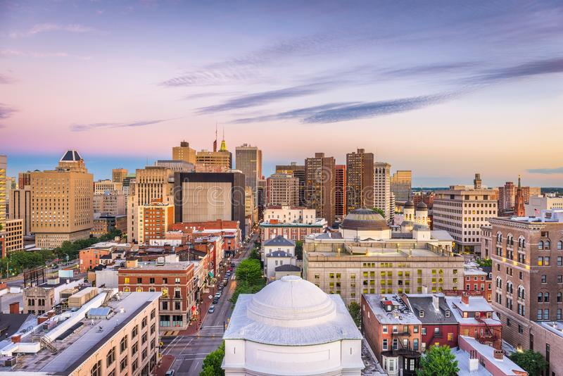 Baltimora, Maryland, orizzonte di U.S.A. immagini stock libere da diritti