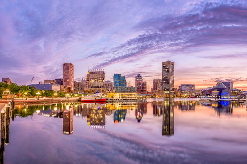 Baltimora, Maryland, orizzonte di U.S.A. immagine stock libera da diritti
