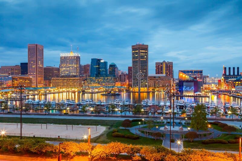 Baltimore bij nacht royalty-vrije stock foto's