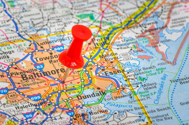 Baltimore destacó en un mapa fotografía de archivo
