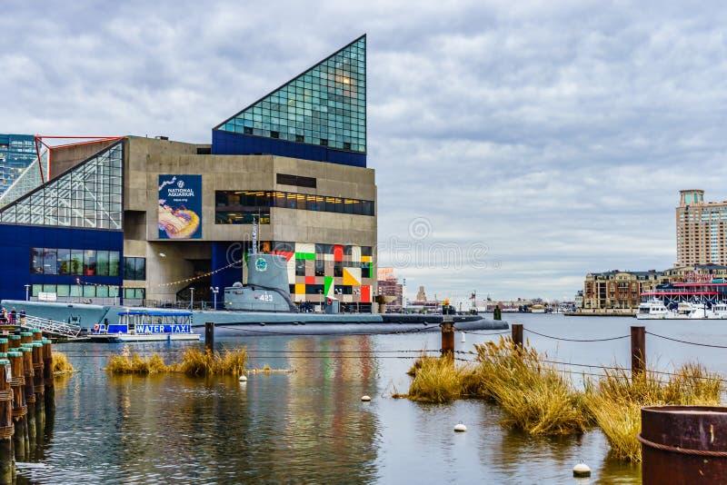Baltimore, DM, aquarium national des Etats-Unis le 18 décembre 2016 à Baltimore se tiennent dans la région intérieure de port image libre de droits
