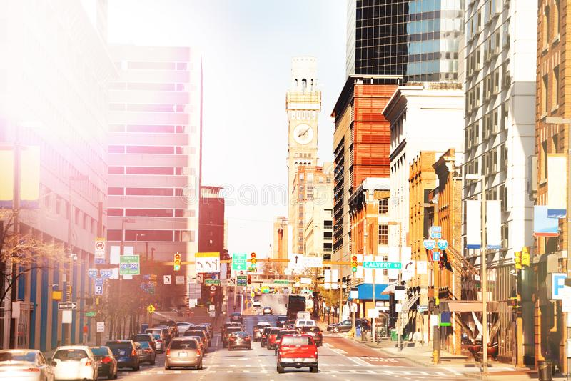 Baltimore gator och Emerson Bromo Seltzer torn arkivfoto