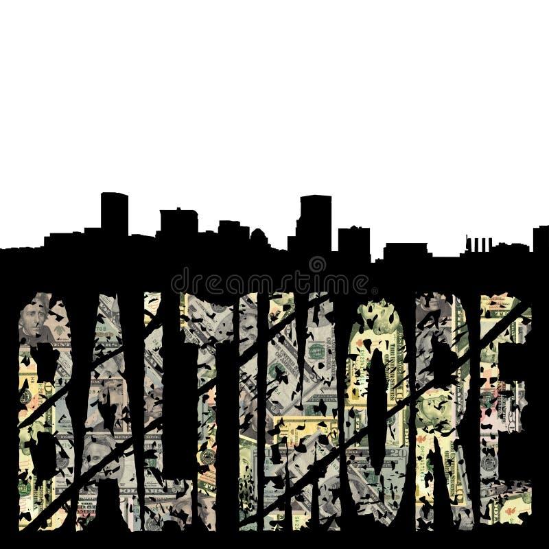 Baltimore grunge mit Skylinen vektor abbildung