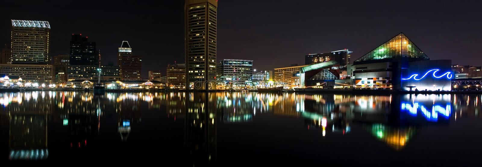 Baltimore Harbor night panorama. Panorama of Baltimore Inner Harbor at night created from two panels stitched in PhotoShop Elements
