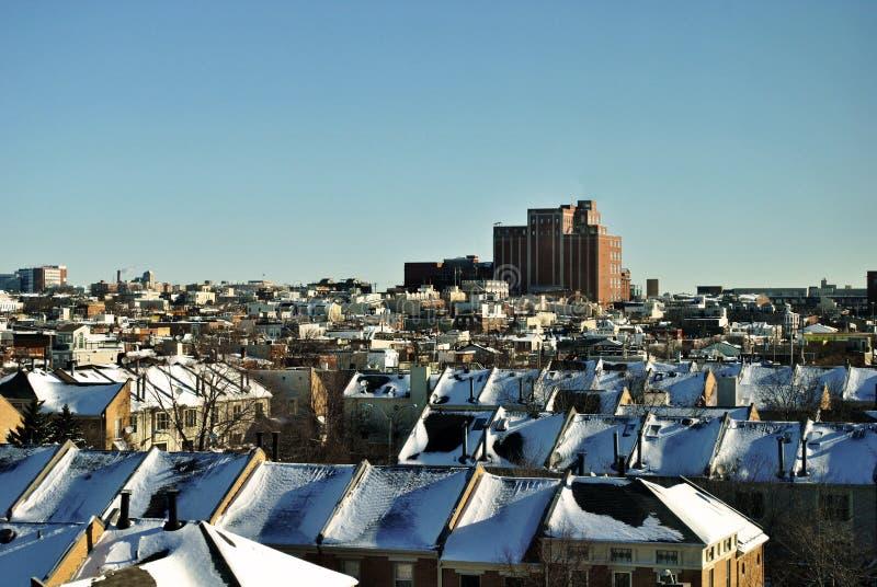 Baltimore i snön arkivbild