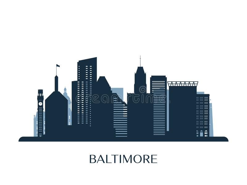 Baltimore linia horyzontu, monochromatyczna sylwetka royalty ilustracja
