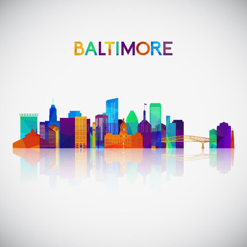 Baltimore linia horyzontu sylwetka w kolorowym geometrycznym stylu ilustracji