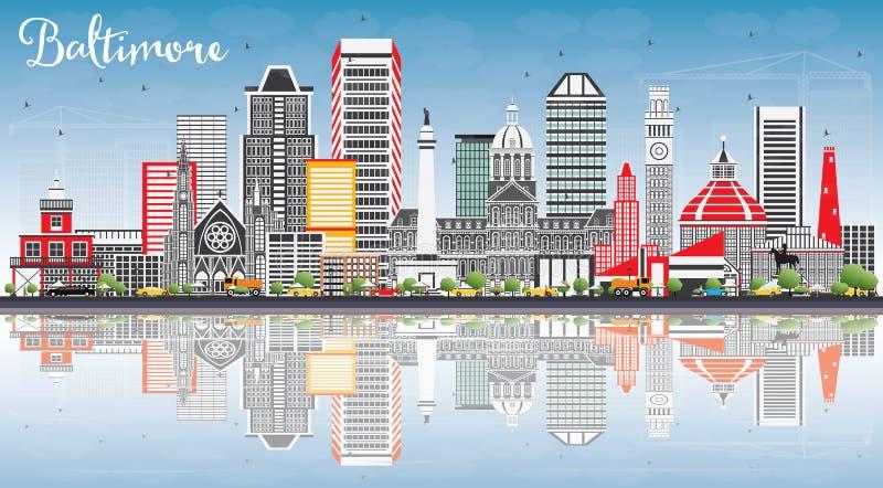 Baltimore linia horyzontu z Szarymi budynkami, niebieskim niebem i odbiciami, ilustracja wektor