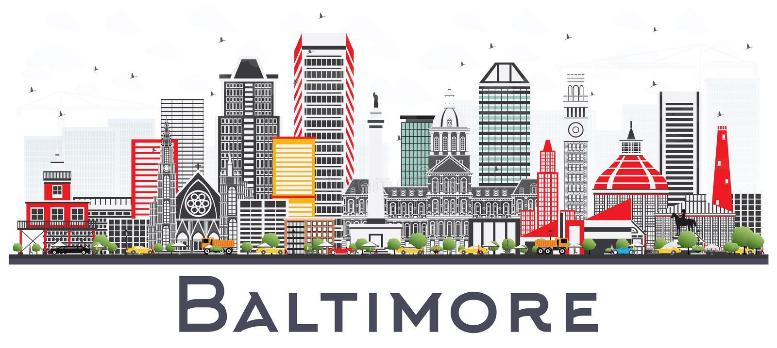 Baltimore Maryland City Skyline with Gray Buildings Isolated on. White. Vector Illustration. Business Travel and Tourism Concept with Modern Architecture royalty free illustration
