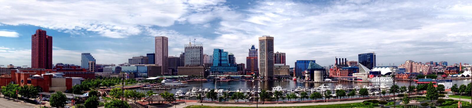 Baltimore Maryland Inner Harbor Panoramic Skyline. Baltimore Maryland Inner Harbor and downtown business district skyline wide cityscape panoramic view with royalty free stock image
