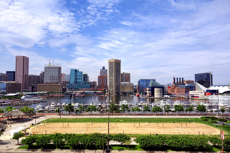 Baltimore Maryland Inner Harbor Skyline and Beach stock photography