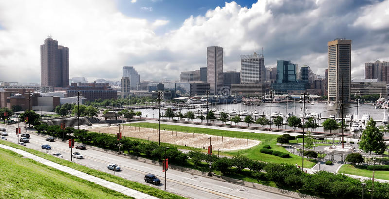 Download Baltimore Maryland Inner Harbor Skyline And Park Stock Photo - Image of hill, rash: 28851570