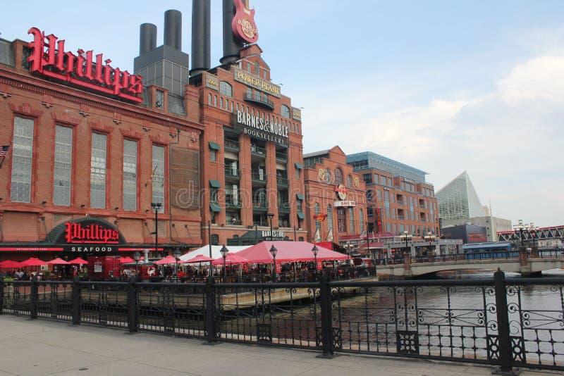 Baltimore Maryland inre hamngränsmärke royaltyfri fotografi