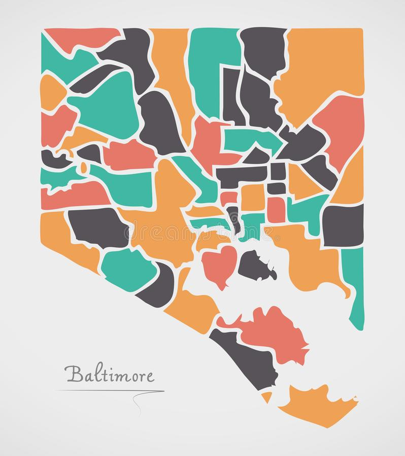 Baltimore Maryland Map with neighborhoods and modern round shape. S illustration royalty free illustration