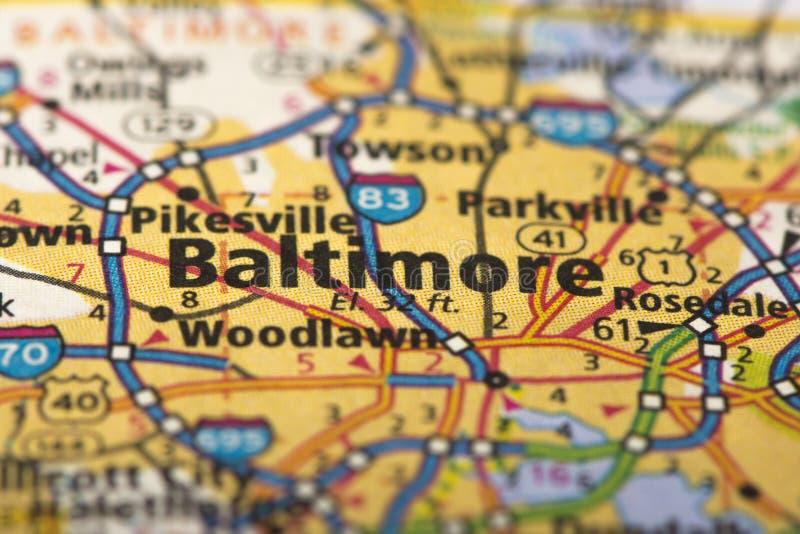 Baltimore Maryland på översikt arkivbilder