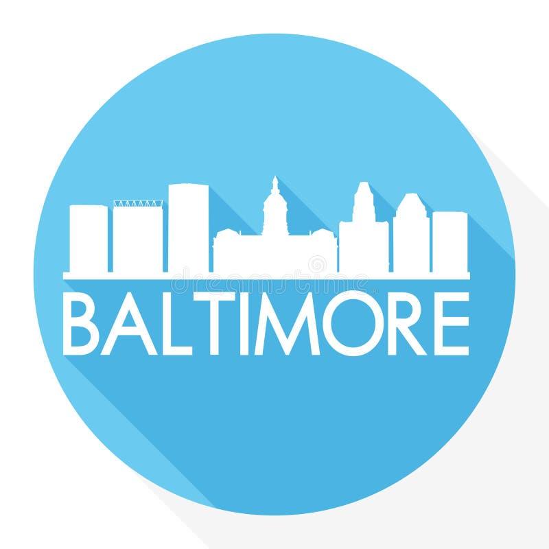 Baltimore Maryland Stany Zjednoczone Ameryka usa ikony Round Wektorowej sztuki cienia projekta linii horyzontu miasta sylwetki sz ilustracja wektor