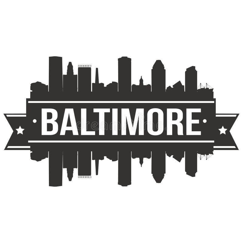 Baltimore Maryland Stany Zjednoczone Ameryka usa ikony sztuki projekta linii horyzontu miasta Wektorowej Płaskiej sylwetki Editab ilustracja wektor