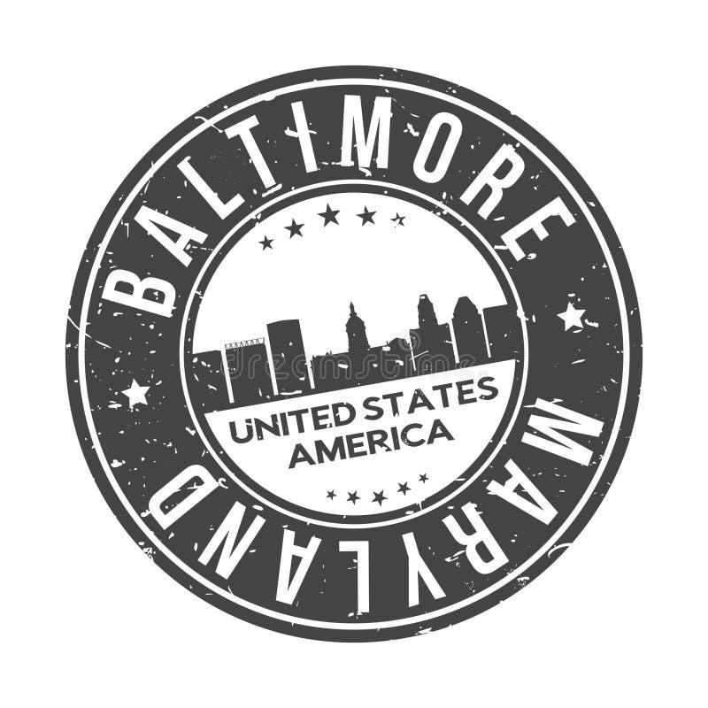 Baltimore Maryland usa Round guzika miasta linia horyzontu projekta znaczka podróży Wektorowa turystyka ilustracja wektor