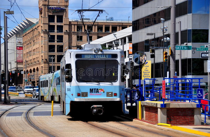 Baltimore, MD: MTA Light Rail Train. An MTA light rail train headed to Hunt Valley stopped at the Pratt Street station in Baltimore, Maryland royalty free stock image