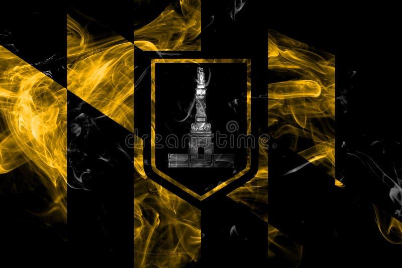 Baltimore miasta dymu flaga, Maryland stan, Stany Zjednoczone Ameryka ilustracji