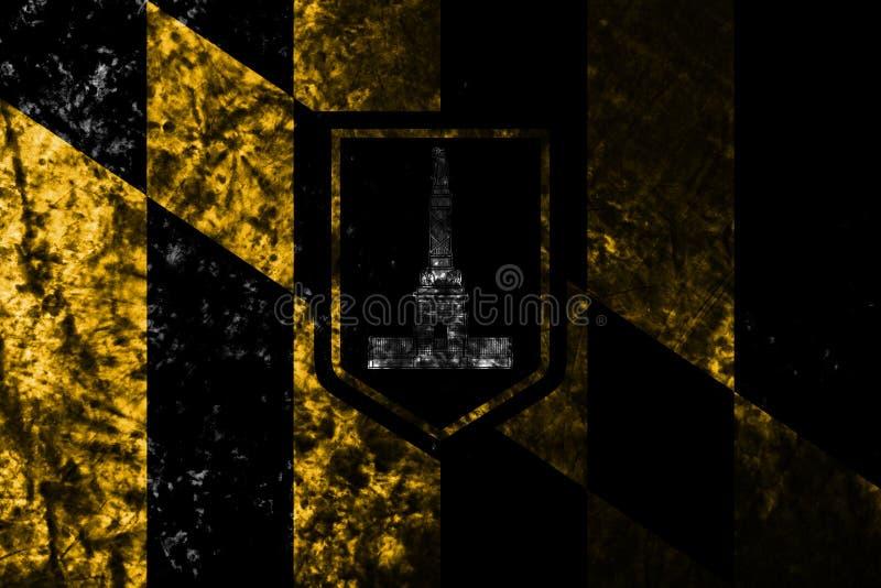Baltimore miasta grunge flaga na starym brudzi ścianę, Maryland stan, Stany Zjednoczone Amer ilustracja wektor