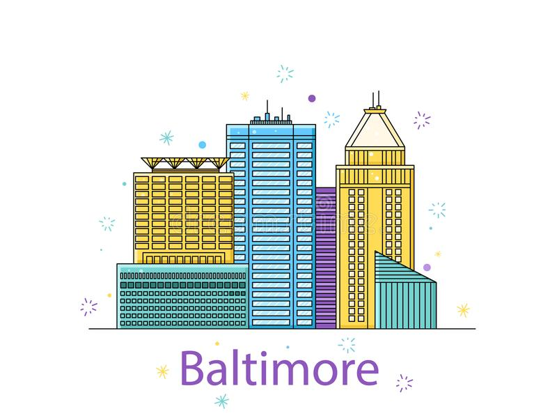Baltimore nakreślenie Miasto majcher w liniach Wektor w konturze ilustracja wektor