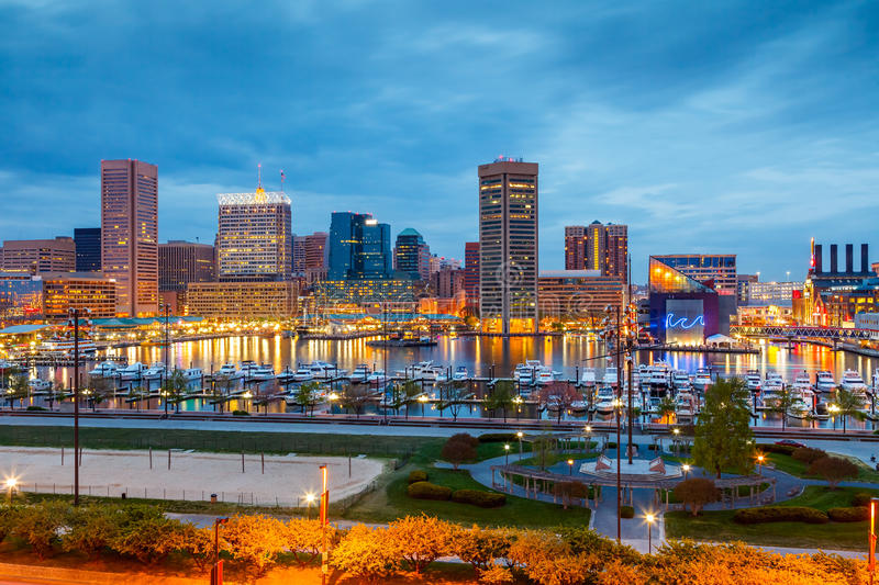 Baltimore at night. View on downtown of Baltimore at night royalty free stock photos