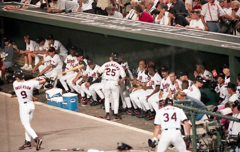 The Baltimore Orioles Dugout on September 6, 1995 as the Game Became Official. Cal Ripken Breaks the Ironman Streak, September 6, 1995. Image taken from a color stock photos