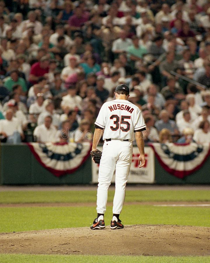 Baltimore Orioles Pitcher Mike Mussina, September 6, 1995.  royalty free stock image