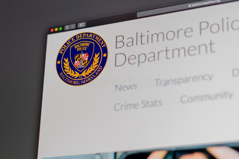 Baltimore Police Department website homepage. Close up of Police Dept logo. Miami / USA - 05.11.2019: Baltimore Police Department website homepage. Close up of stock images