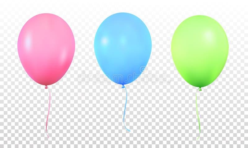 baltimore Realistiska vibrerande färgrika heliumballonger med band Isolerad ballon royaltyfri illustrationer