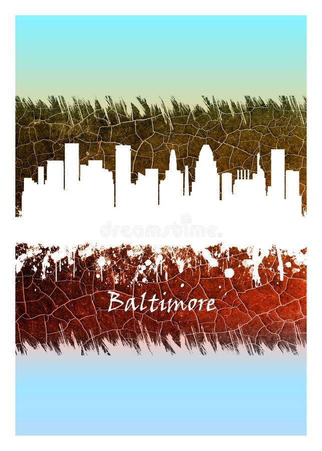 Baltimore-Skyline blau und wei? vektor abbildung