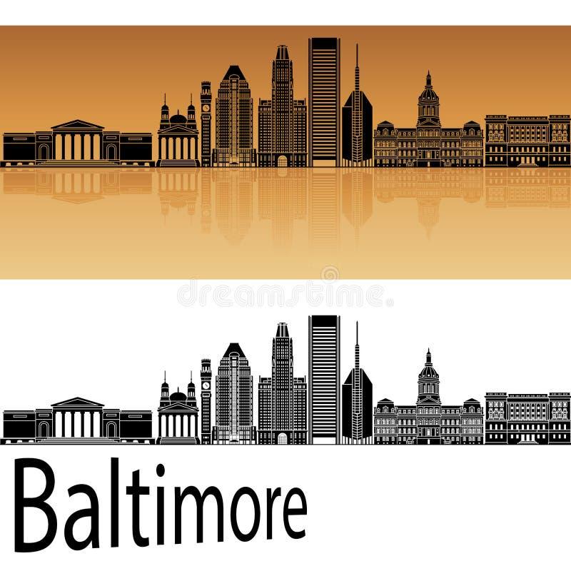 Baltimore-Skyline in der Orange vektor abbildung