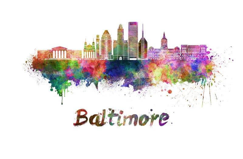 Baltimore-Skyline im Aquarell stock abbildung
