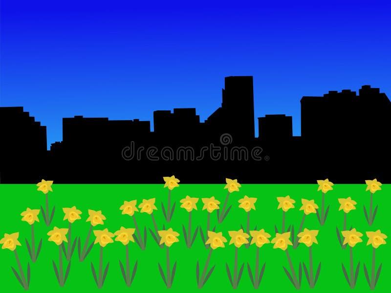 Baltimore-Skyline im Frühjahr vektor abbildung