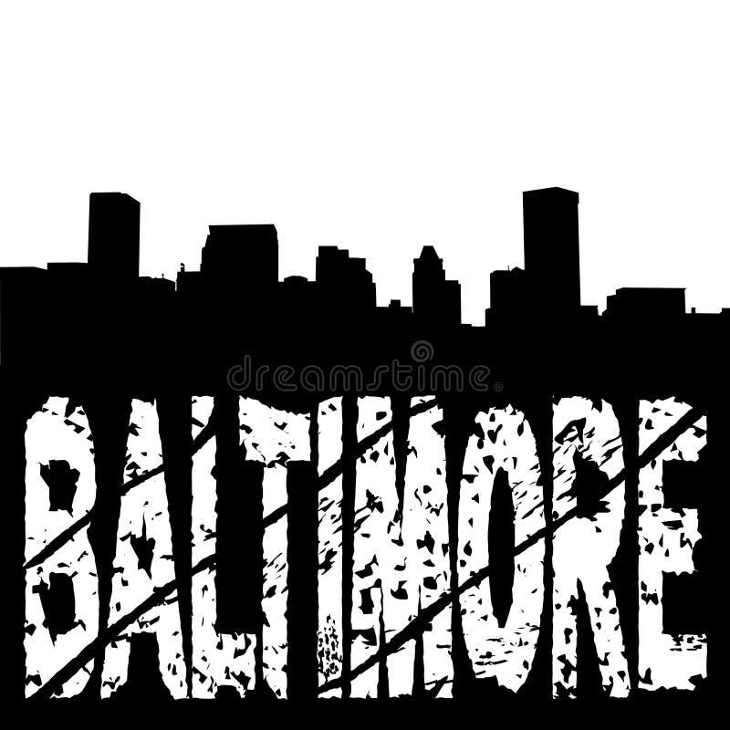 Baltimore-Skyline mit grunge Text vektor abbildung