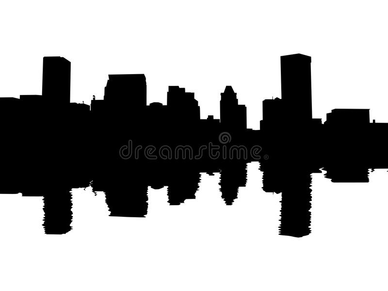 Baltimore-Skyline reflektiert stock abbildung
