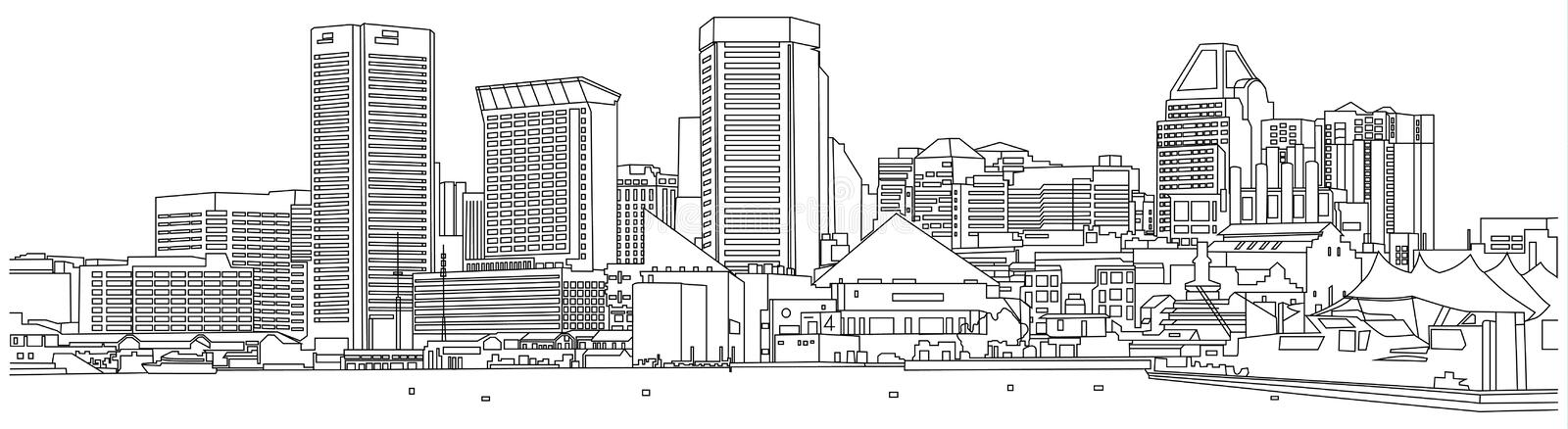 Baltimore-skyline-sketch stock illustration