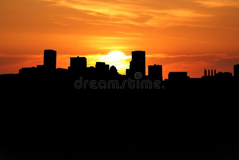 Baltimore-Skyline am Sonnenuntergang stock abbildung