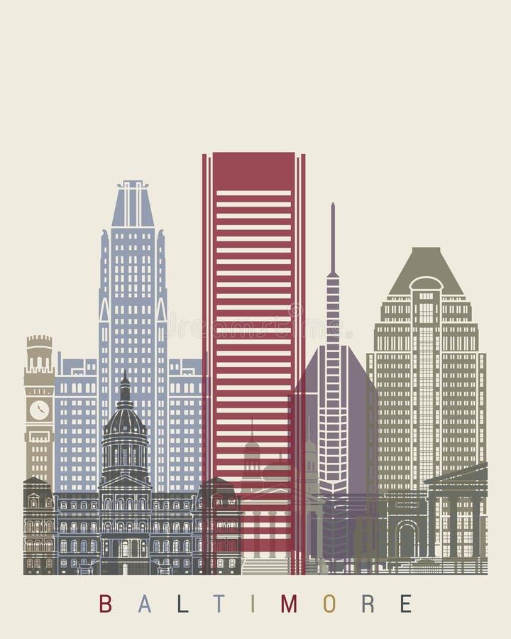Baltimore-Skylineplakat lizenzfreie abbildung