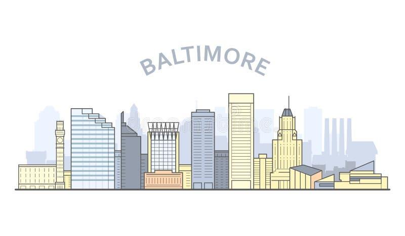 Baltimore-Stadtbild, Maryland - Stadtpanorama von Baltimore, Skyline vektor abbildung