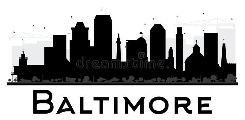 Baltimore-Stadtskyline-Schwarzweiss-Schattenbild stock abbildung