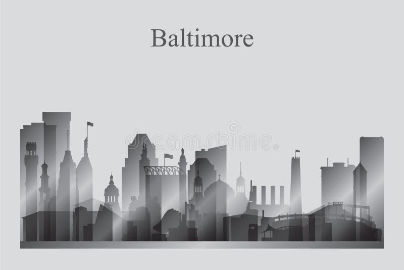 Baltimore-Stadtskylineschattenbild im Grayscale vektor abbildung