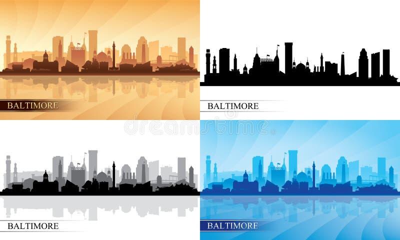 Baltimore-Stadtskylineschattenbilder eingestellt lizenzfreie abbildung
