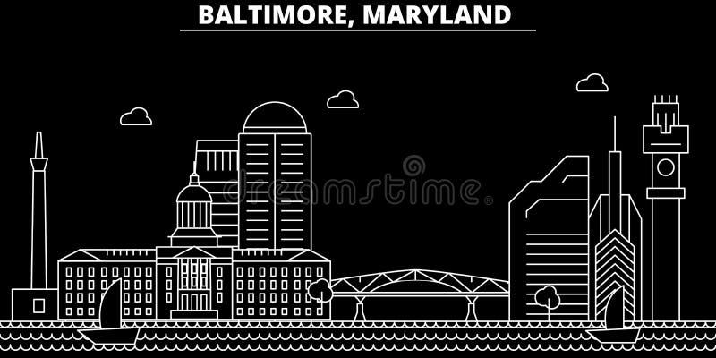 Baltimore sylwetki linia horyzontu USA - Baltimore wektorowy miasto, amerykańska liniowa architektura, budynki Baltimore podróż ilustracji