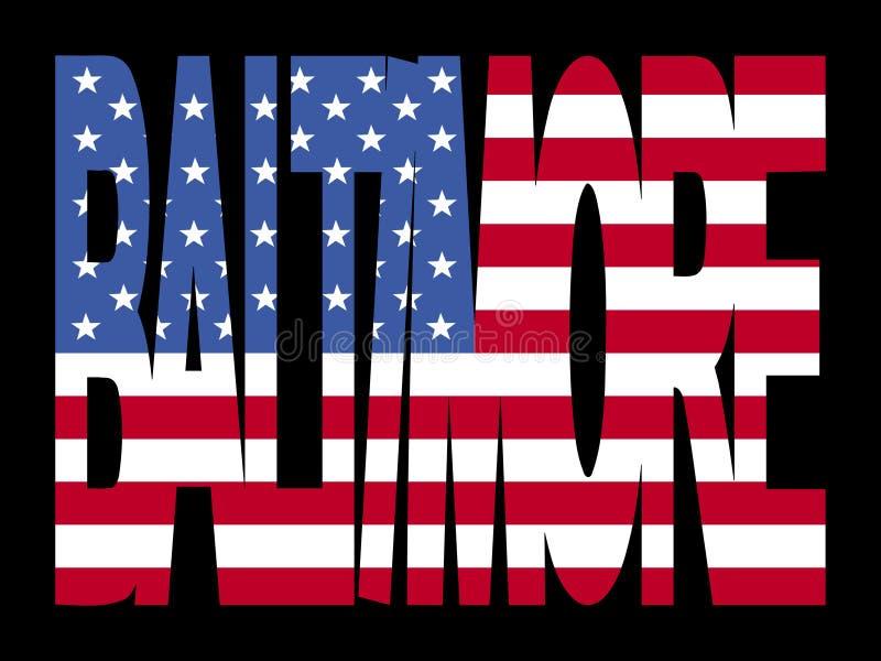 Baltimore-Text mit Markierungsfahne stock abbildung