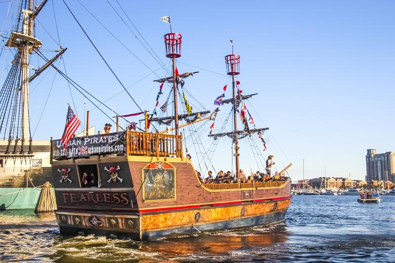 Baltimore Touristic Pirate Boat royalty free stock image
