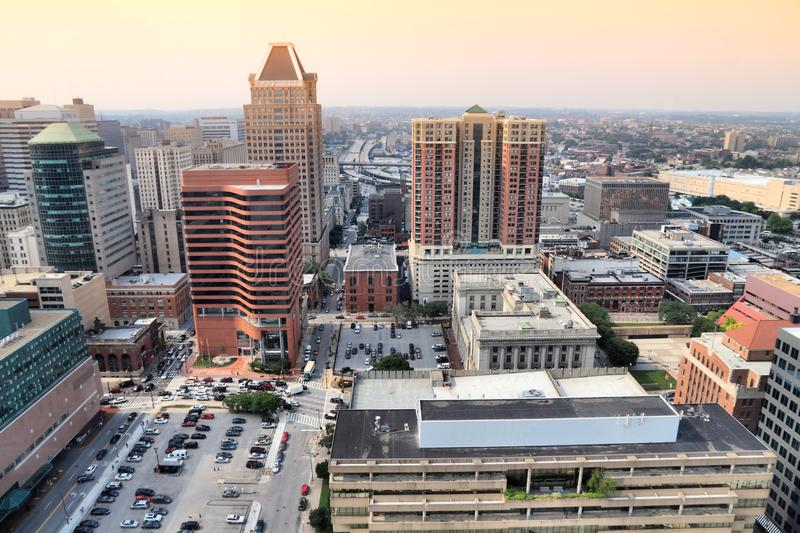 Baltimore, United States. Sunset light urban cityscape royalty free stock photos